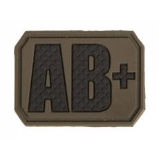 Nášivka na suchý zip MilTec AB+ OD Green / 3,8x2,8cm