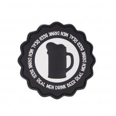Nášivka na suchý zip 101 Inc. Real Men Drink Beer - Black / 73mm